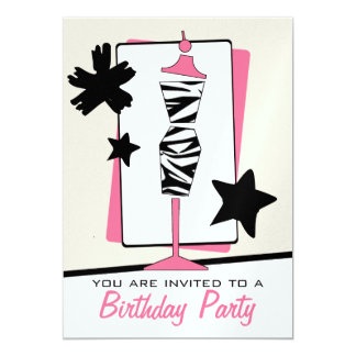 Fashion Birthday Party - Zebra Print Dress Form 5x7 Paper Invitation Card