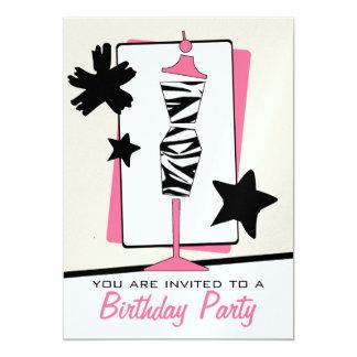 Fashion Birthday Party - Zebra Print Dress Form Card