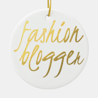 Fashion Blogger - Gold Script Double-Sided Ceramic Round Christmas Ornament