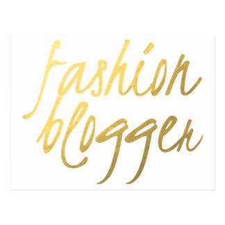 Fashion Blogger - Gold Script Postcard
