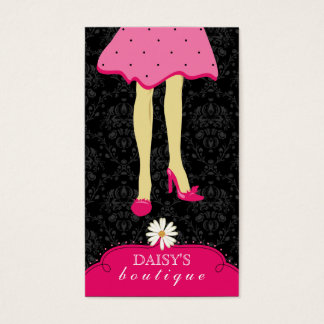 Fashion Boutique Business Card Black Pink Daisy