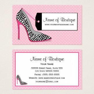 Fashion Boutique Pink and Black Zebra Stilettos Business Card