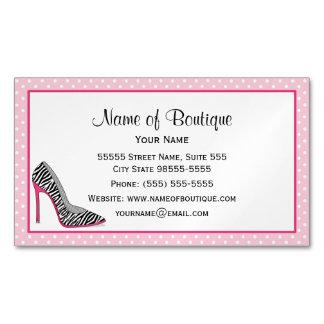Fashion Boutique Pink and Black Zebra Stilettos Business Card Magnet