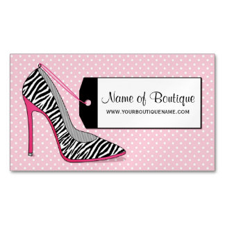 Fashion Boutique Pink Black Zebra Print Shoes Magnetic Business Cards
