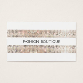 Fashion Boutique Sparkly Silver Sequins Look White Business Card