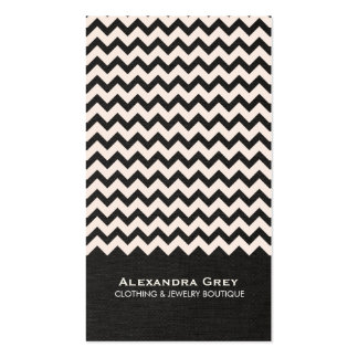 Fashion Boutique Zig Zag Black Linen Business Card