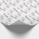 "Fashion Bride Pink Name wrapping paper<br><div class=""desc"">A stylish,  retro design a featuring line drawing of a bride inspired by dress patterns and fashion illustrations from the 1950s and 1960s. A customizable design for you to personalise with your own text,  images and ideas. An original digital art image.</div>"