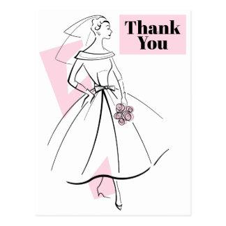 Fashion Bride Pink Thank You postcard