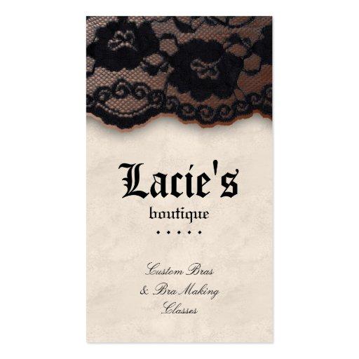 Fashion Business Card Lace Cream Taupe Black