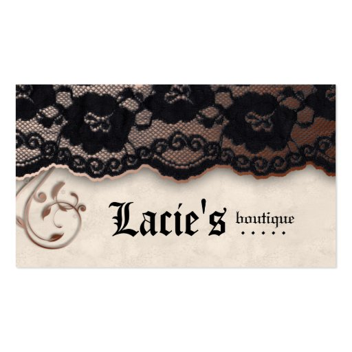 Fashion Business Card Lace Ivory Brown Black