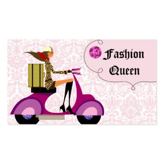 Fashion Business Card Scooter Woman Pink