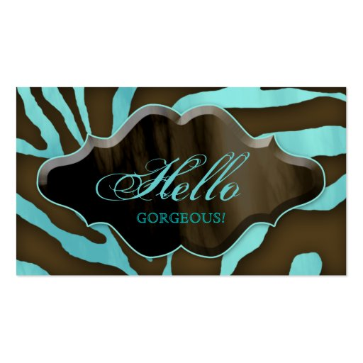 Fashion Business Cards Animal Zebra Blue