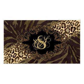 Fashion Business Cards Animal Zebra Suede Leopard