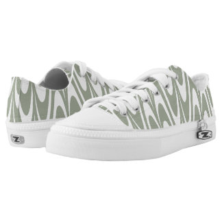 Fashion cashmere desert sage and white waves printed shoes