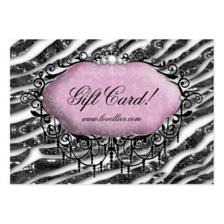 Fashion Chandelier Jewelry Gift Certificate Zebra Large Business Cards (Pack Of 100)