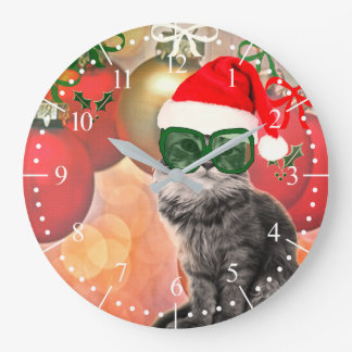 Fashion Christmas Cat with Santa Claus Hat Large Clock