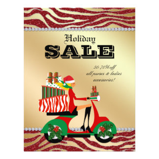 Fashion Christmas Sale Flyer Scooter Woman Blonde
