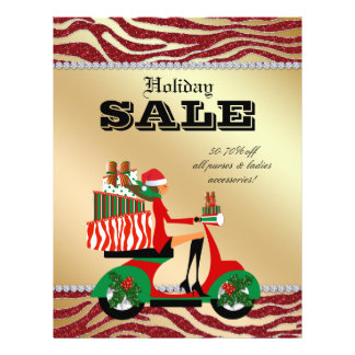 Fashion Christmas Sale Flyer Scooter Woman Brown
