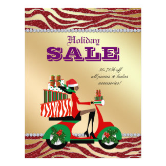 Fashion Christmas Sale Flyer Scooter Woman Ethnic