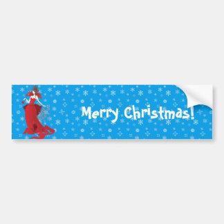 Fashion Christmas stylish red gray illustration Bumper Sticker