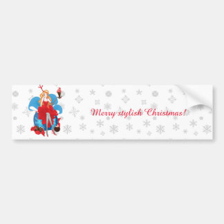 Fashion Christmas stylish red gray illustration Bumper Sticker