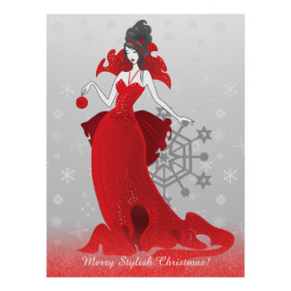 Fashion Christmas stylish red gray illustration Poster