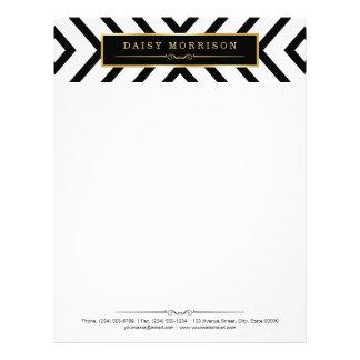 Fashion Classy Gold Black White Stripes Pattern Letterhead