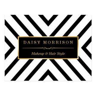 Fashion Classy Gold Black White Stripes Pattern Postcard