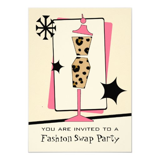 Fashion / Clothing Swap Party Leopard Dress Form Card