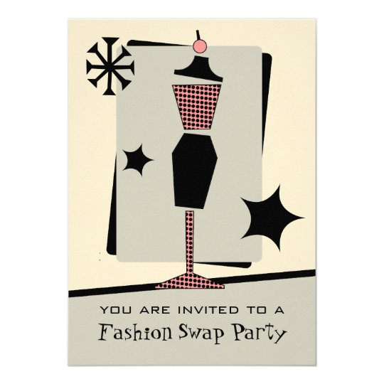 Fashion / Clothing Swap Party Vintage Dress Form Card