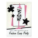 Fashion Clothing Swap Party Zebra Print Dress Form Card