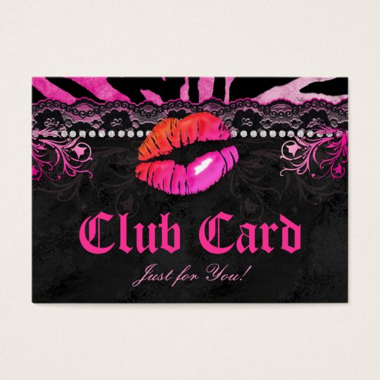 Fashion Club Card Lace Lips Zebra Pink Orange