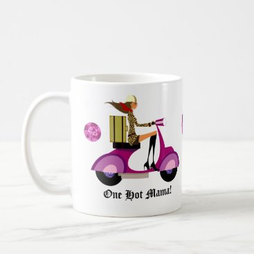 Coffee Themed Fashion Coffee Mug Scooter Woman Pink Leopard