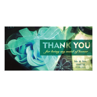 Fashion Cordate Rose Bridesmaid Thank You Card