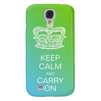 Fashion Crown Keep Calm and Carry On Blue Lime Samsung Galaxy S4 Case