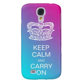 Fashion Crown Keep Calm and Carry On Purple pb Samsung S4 Case