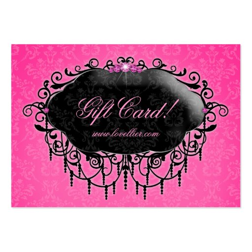 Gift certificate template business card templates page2 fashion damask jewelry gift certificate pink black business card template yelopaper Images