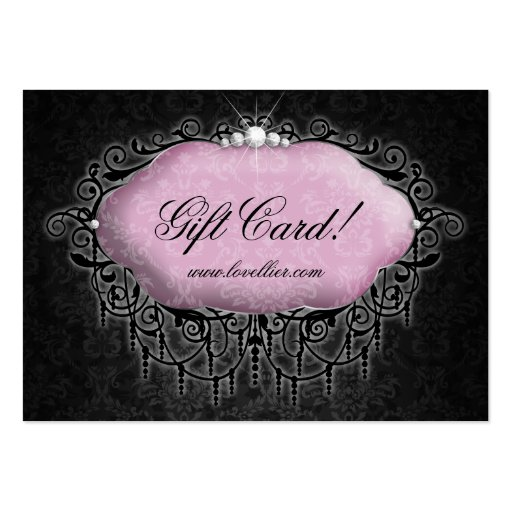Fashion Damask Jewelry Gift Certificate Pink Gray Business Card Template