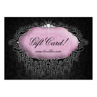 Fashion Damask Jewelry Gift Certificate Pink Gray Large Business Cards (Pack Of 100)
