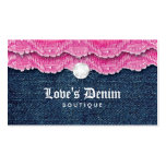 Fashion Denim Jeans Lace Jewelry Pink Business Card Template