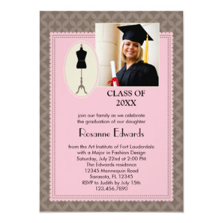 Fashion Design Graduation Photo Invitation
