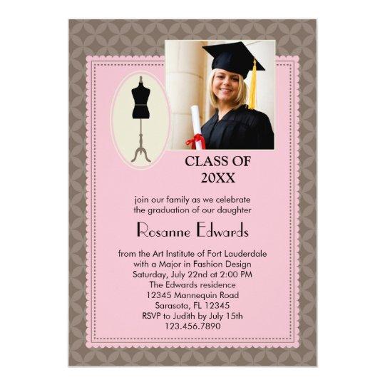 Fashion Design Graduation Photo Invitation