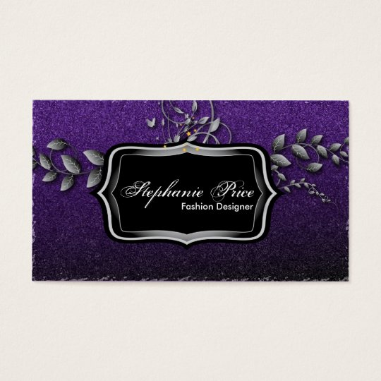 Fashion Designer Business Card - Purple & Silver