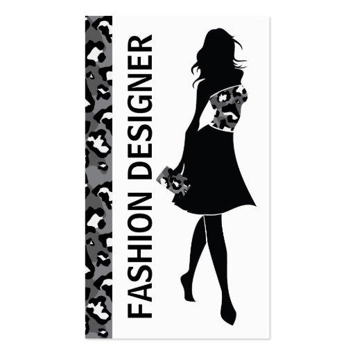 Fashion designer girl black grey panther print business card