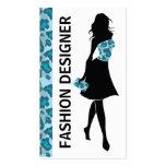 Fashion designer girl blue panther print business cards
