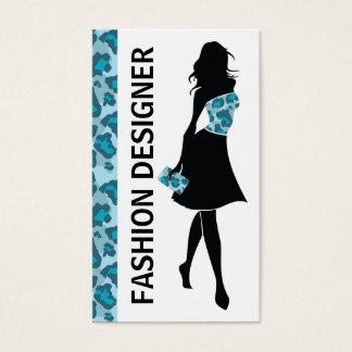 Fashion designer girl blue panther print business card