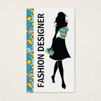 Fashion designer girl blue yellow panther print business card