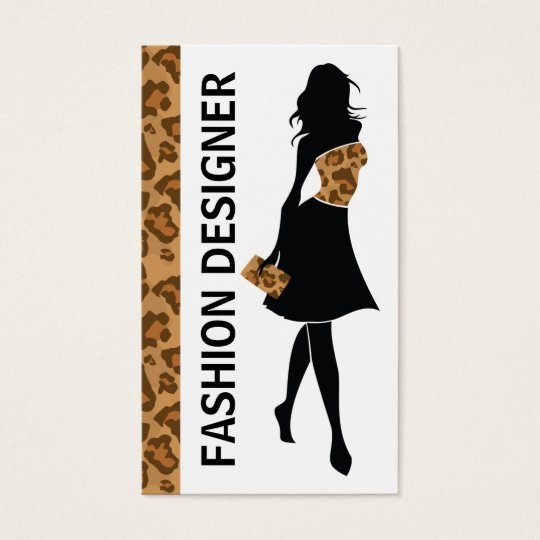 Fashion designer girl with brown panther print business card fashion designer girl with brown panther print business card reheart Images