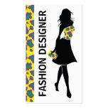 Fashion designer girl yellow purple panther print business card