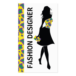 Fashion designer girl yellow purple panther print Double-Sided standard business cards (Pack of 100)